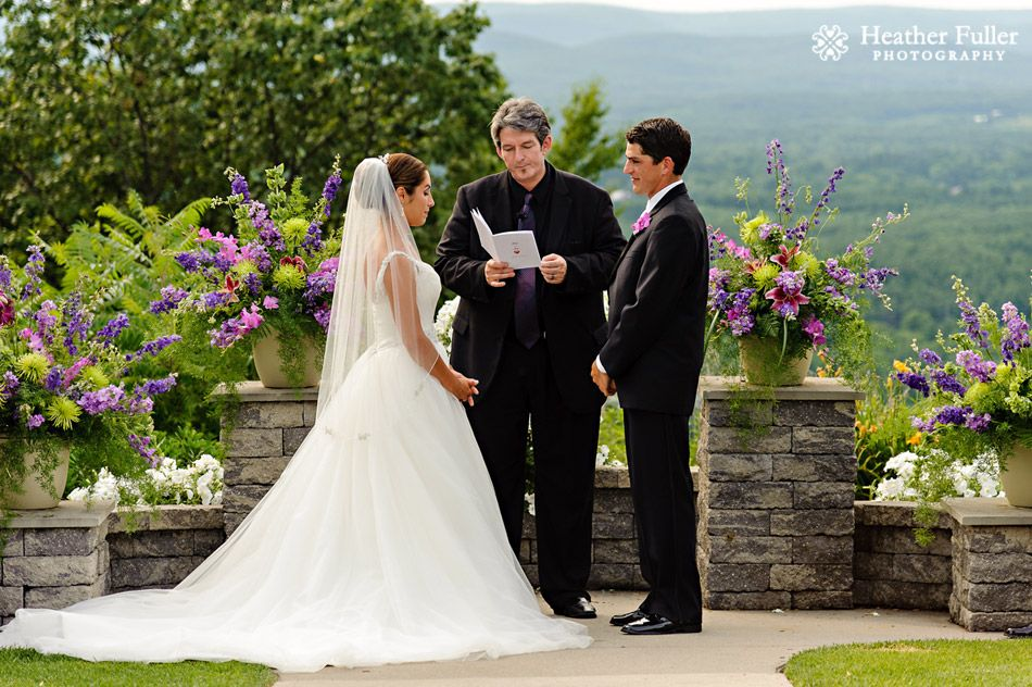 Outdoor Wedding Ceremony Mountain Views Log Cabin Holyoke Ma Wedding
